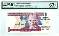 TURKEY 1 NEW LIRA 2005 CENTRAL BANK PICK 216 GEM UNC LUCKY MONEY VALUE $67