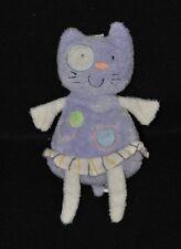 Peluche doudou chat CP INTERNATIONAL violet mauve cocard blanc 18 cm TTBE