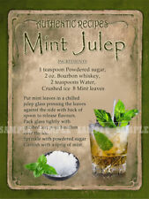 MINT JULEP  COCKTAIL RECIPE METAL SIGN :HOME BAR:PUB:BAR:CAFE:  LOVELY GIFT