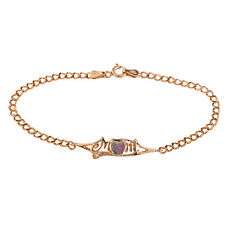 14Kt Rose Gold Plated Black Opal & Diamond Heart Mom Bracelet