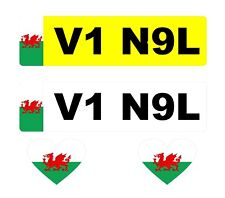 2 x Number Plate Stickers Wales Flag + 2 x Heart Wales Flags (I Love Wales)