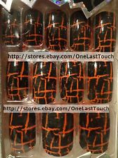 CRACKED NAILS Pre-Glued/Press-On ORANGE/BLACK Painted Nails CRACKLE 12pc Set