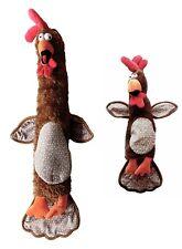 Stuffed Chicken Dog Toy. NO Squeaker. Tennis Balls Inside. Plush. 2 sizes Brown