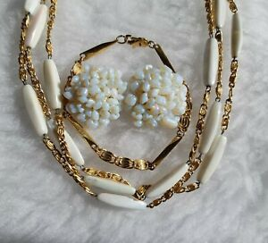 Vintage Gold Tone & Shimmering Glass Necklace & Clip On Earrings