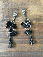 Women's Fashion Earrings-Jewelry-Dangle-Beaded-Silver and Black-Post-Pierced Ear