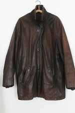MANTEAU VESTE 3/4 MARRON CUIR VERITABLE vieilli FATHER & SONS T: XL