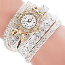 Fashion Women's Leather Bling Rhinestone Stainless Steel Quartz Watch Bracelet