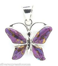 Kingman Purple Turquoise Inlay 925 Sterling Silver Butterfly Pendant Necklace