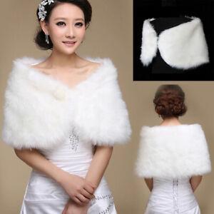 Women Ladies's White Faux Fur Cape Wrap Shrug Shawl Coat Wedding Winter Shawl