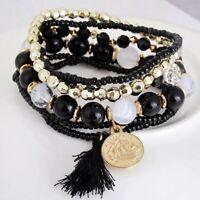 6Pcs/Set Bohemian Bracelets Women Boho Multilayer Tassel Beads Bangle Jewelry