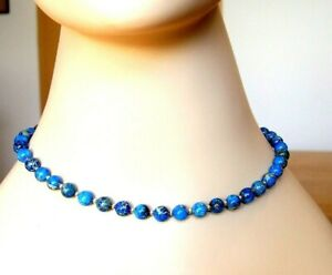 TURQUOISE BLUE DYED NATURAL JASPER COLLAR NECKLACE WITH MAGNETIC CLASP