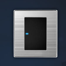 LED Wall Light Switch Brushed Stainless Steel 1 way 1 Gang Modern Decor Silver