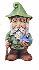 """Ingor Gnome with bird and Staff 14"""" Ceramic Bisque, Ready To Paint"""