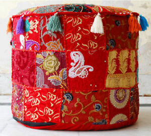 """22"""" Vintage Patchwork Pouf Cotton Red Round Pouffe Footstool Ottoman Cover"""