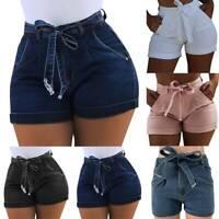 Women Summer Beach High Waist Lace Up Jeans Shorts Casual Stretch Mini Hot Pants