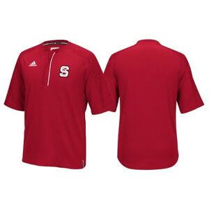 NC State Wolfpack Adidas NCAA Men's Red Sideline Climalite 1/4 Zip Knit Shirt