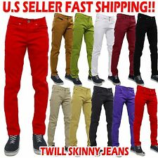 Men's skinny Jeans Twill Denim Slim Fit KHAKI BLACK 10 COLORS  [28~38]
