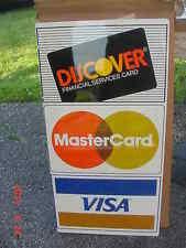 Vintage NOS Flanged Metal Credit Card Store Shop Sign Discover Mastercard Visa