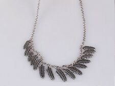 New Alloy Retro Lucky Brand Silver Tone Feather Chain Necklace