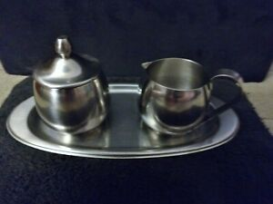 Vintage Stainless Steel Tray with Creamer and Sugar Used