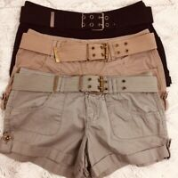 Dollhouse Shorts Juniors Cotton Cuffed Belted Shorts Size 3