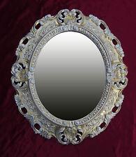 Wall Mirror Gold Silver Oval 45x38 Baroque Antique Repro Vintage 345 12