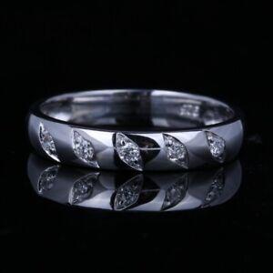 Stylish 10K White Gold Genuine Diamonds Engagement Anniversary Wedding Fine Band