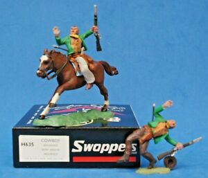 Herald Swoppet Cowboys WOUNDED by ARROW Mounted & On Foot (1st Issue REPRO Box)