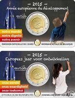 """Coincard 2 euros commémorative BELGIQUE 2015 """"Année Européenne du développement"""""""