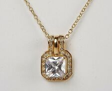 New Avon CUSHION CUT PAVE Gold Faux Diamond NECKLACE - Princess Cut Pendant