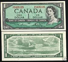 CANADA 1 DOLLAR P75 D 1954 YOUNG QUEEN PRAIRIE AUNC CANADIAN MONEY BILL BANKNOTE