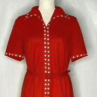 Vintage 60s Shirt Dress Red Union Made Zipper Front Belted A Line short Sleeves