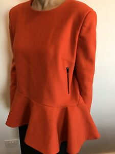 Preen By Thornton Bregazzi Size L 14 Orange Wool Top Designer