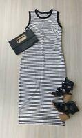 Designer Piper Black & White Striped Midi Dress 2 Small Side Splits Size 10