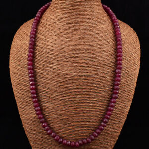 230.00 Cts Earth Mined Single Strand Ruby Round Cut Beads Necklace JK 03E165