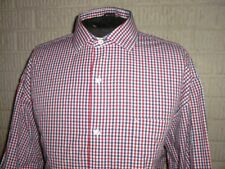 TOMMY HILFIGER America pattern red white & blue long sleeve shirt 17 1/2 x 34/35