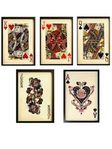 Set of 5 Black Framed Wall Art King,Queen, Jack, Ace  and Joker Collage Pictures