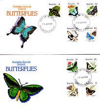 1983 Australian Animal Series Iii Butterflies on 2 Fdc's - Carnarvon 6701 Pmk