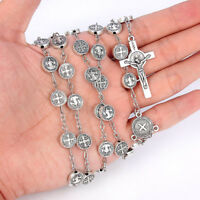 Women's Christian Rosary Silver Beaded Jesus Cross Pendant Necklace Jewelry