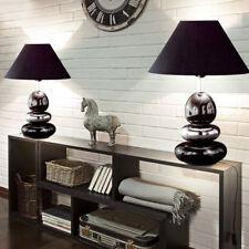 2er Set Tisch Leuchten Keramik Stein Wohn Zimmer Textil Lese Lampen schwarz