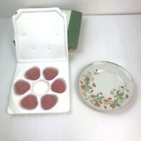 Vintage Avon 1978 Strawberry Porcelain Plate 22k W/6 Guest Soaps NIB