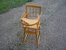 Chaise haute ancienne  en bois de poupée/poupon