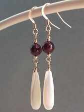 Beautiful Teardrop Mother of Pearl & Garnet Gemstones 14ct Rolled Gold Earrings