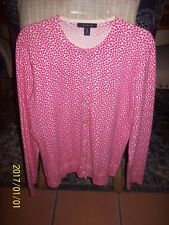 LANDS END COTTON BLEND PINK/WHITE CARDIGAN SWEATER  6-8 SMALL