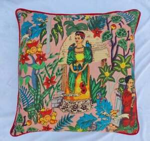 22x22 Pillow Case Cover Indian Home Décor Cover Frida Khalo Piping Cushion Cover