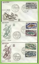 French Antarctic 1971 five Fish values on three First Day Covers