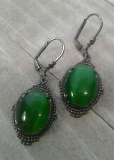 Cats Eye dangle Earrings, Leverback Victorian Vintage Style Handmade Green 18x13