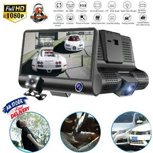 """4"""" Car DVR Dash Cam GPS 3 Lens Front and Rear Video Recorder Camera G-sensor AU"""
