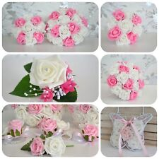 wedding bouquet posy. PINK design. Choose ivory or white from drop down menu