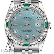 Ladies SS Rolex 31mm Datejust Ice Blue 8+2 Diamond Dial with Emerald Watch